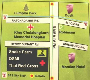 Queen Saovabha Snake Farm Map - Bangkok, Thailand