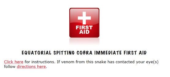 Spitting cobra first aid instructions link.
