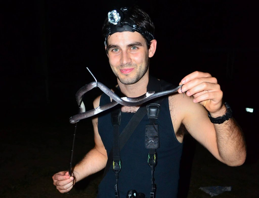Elliot from the UK with a wolf snake while herping Krabi Thailand with us for a couple of nights.