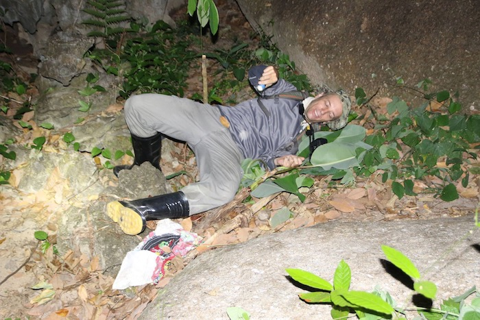 Falling while herping with rubber boots on in Thailand's rainforest.