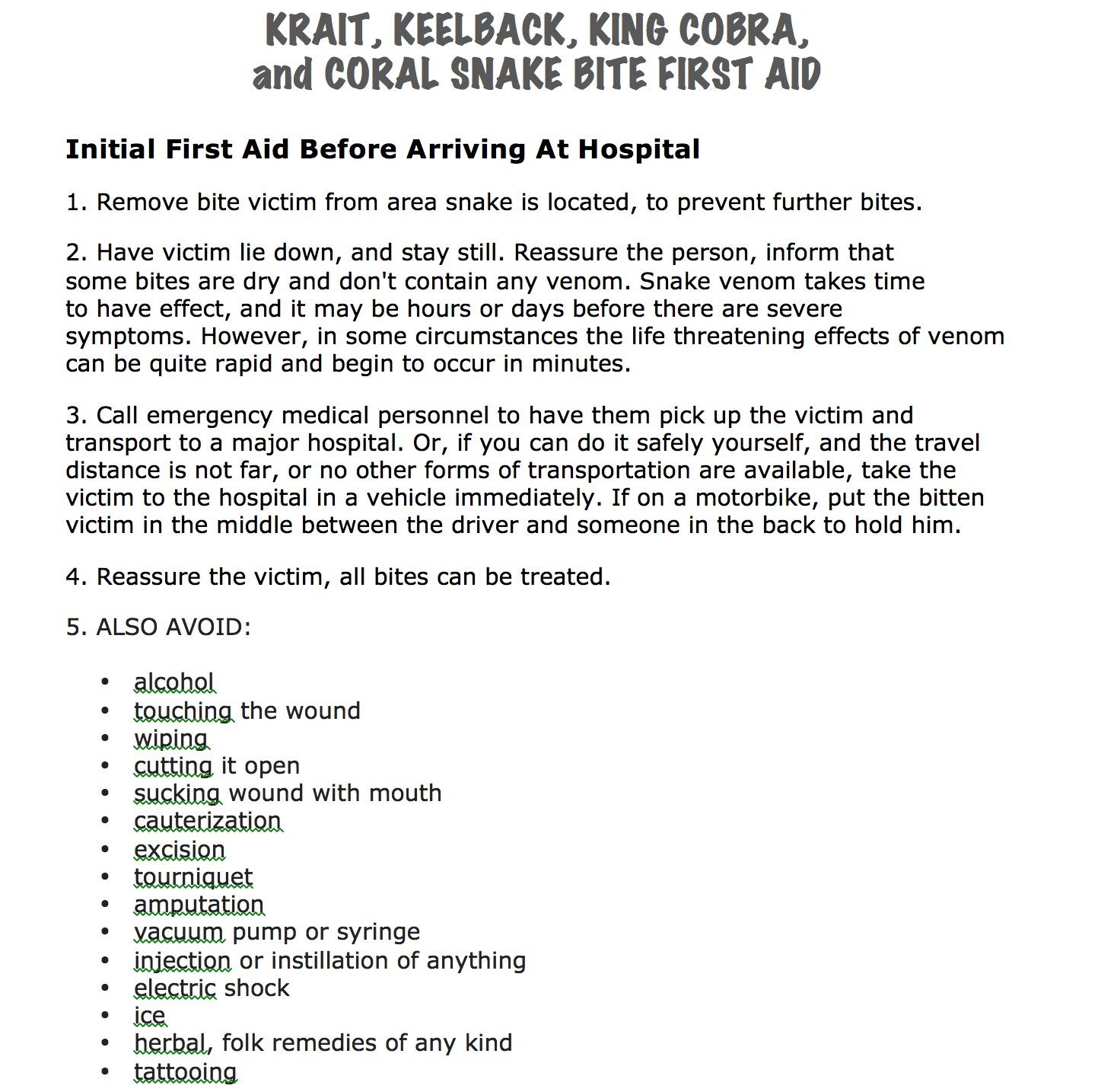 Snakebite First Aid - Cobra, Krait, Coral Snakes, Keelbacks Part 1