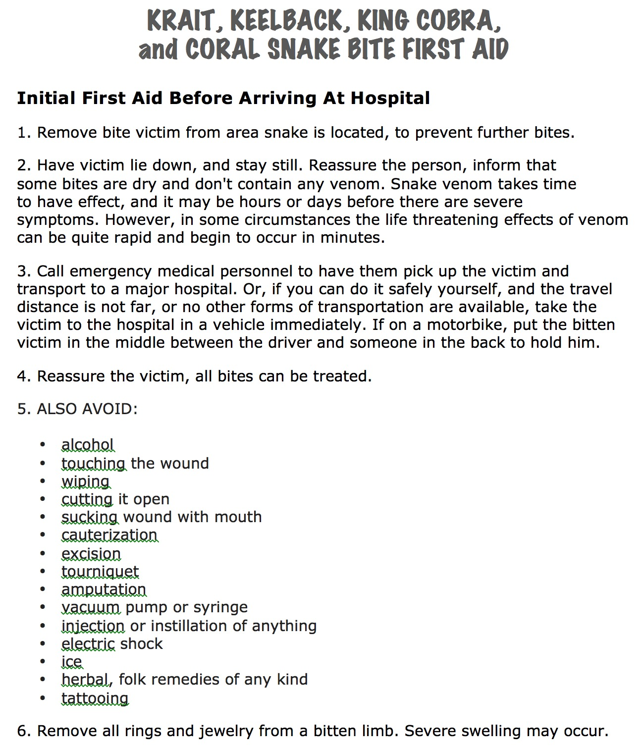 Crucial First Aid Instructions For King Cobra, Krait