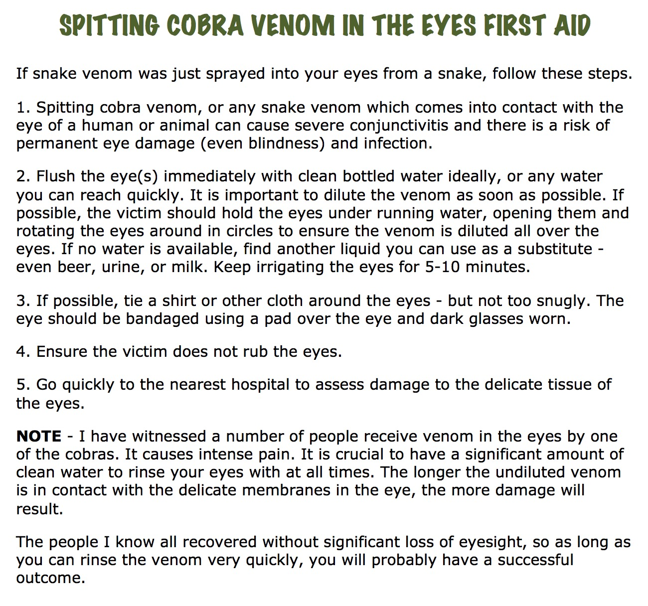 Initial First Aid Instructions for Spitting Cobra Venom in Eyes