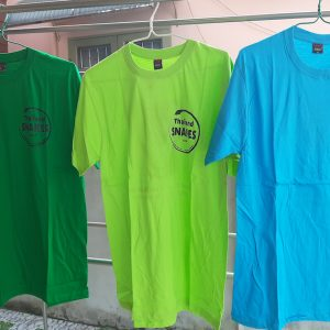 Thailand Snakes snake t-shirts in green, lime, and blue with variable sizes. For sale.